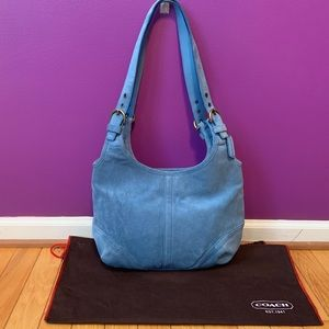 Coach Blue Suede Leather Hobo Shoulder Bag